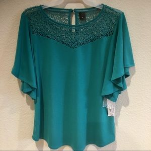 NWT Worthington Stretch Lace Blouse M